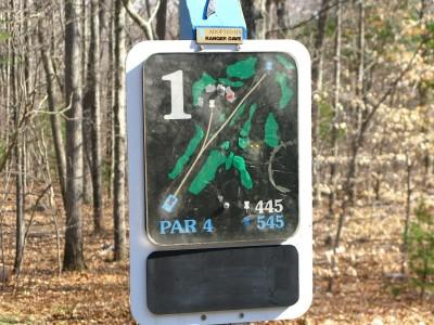 Borderland State Park, Main course, Hole 1 Hole sign