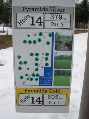 Pyramids, Main course, Hole 14 Hole sign