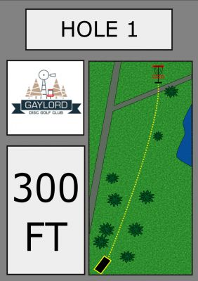 Gaylord DGC, Main course, Hole 1 Hole sign