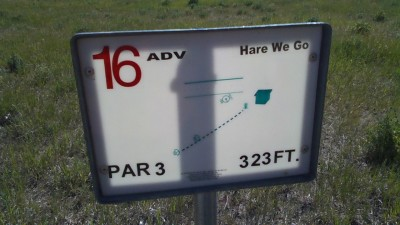 Two Gray Hares, Main course, Hole 16 Hole sign