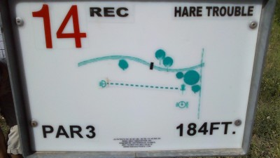 Two Gray Hares, Main course, Hole 14 Hole sign