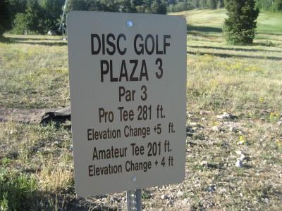 Snowbasin, Main course, Hole 3 Hole sign