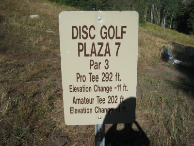 Snowbasin, Main course, Hole 7 Hole sign