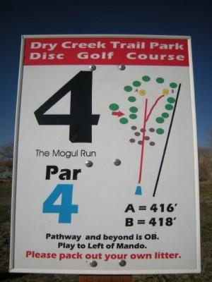 Dry Creek Trail Park, Main course, Hole 4 Hole sign