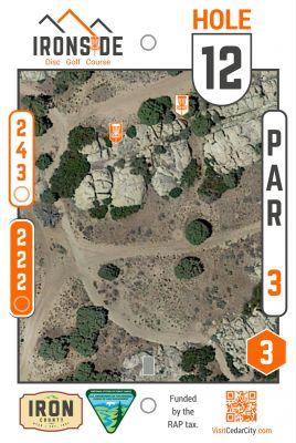 Three Peaks Recreation Area, Ironside, Hole 12 Hole sign