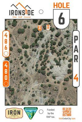 Three Peaks Recreation Area, Ironside, Hole 6 Hole sign
