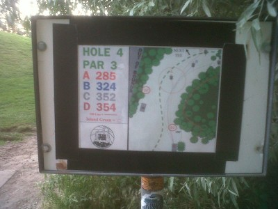 Creekside Park, Main course, Hole 4 Hole sign