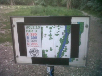 Creekside Park, Main course, Hole 10 Hole sign