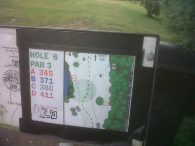 Creekside Park, Main course, Hole 6 Hole sign