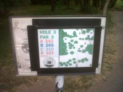Creekside Park, Main course, Hole 3 Hole sign