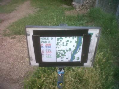 Creekside Park, Main course, Hole 9 Hole sign