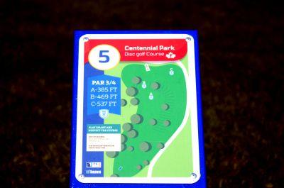 Centennial Park, Ontario Course, Hole 5 Hole sign