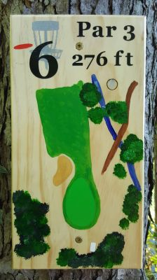Pine Hills DGC, South course, Hole 6 Hole sign