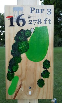 Pine Hills DGC, South course, Hole 16 Hole sign