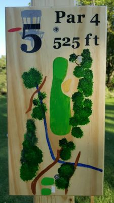 Pine Hills DGC, South course, Hole 5 Hole sign