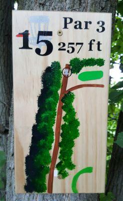 Pine Hills DGC, South course, Hole 15 Hole sign