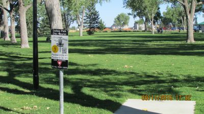 Dalby Memorial Park, Main course, Hole 9 Tee pad