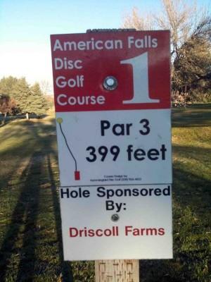 American Falls DGC, Main course, Hole 1 Hole sign