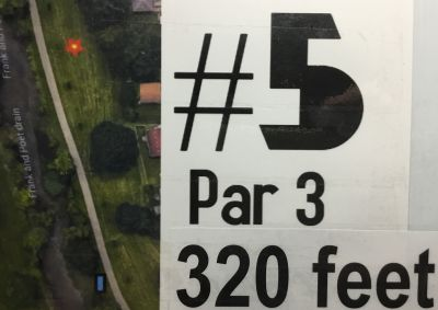 Kennedy Ice Arena and Park, Main course, Hole 5 Hole sign