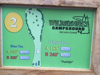 Wilderness Campground, Main course, Hole 2 Hole sign