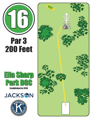 Ella Sharp Park, Main course, Hole 16 Hole sign