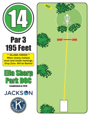 Ella Sharp Park, Main course, Hole 14 Hole sign