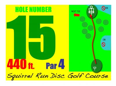 Mosquito Lake State Park, Squirrel Run, Hole 15 Hole sign