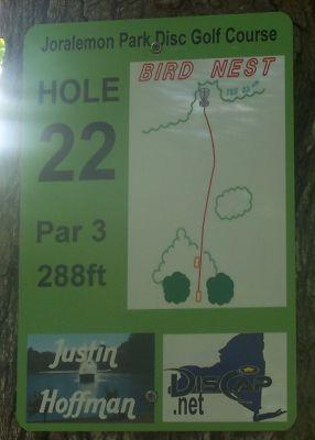 Joralemon Park, Main course, Hole 22 Hole sign