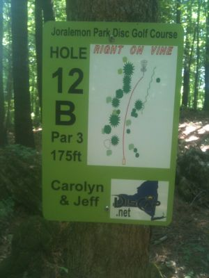 Joralemon Park, Main course, Hole 12b Hole sign