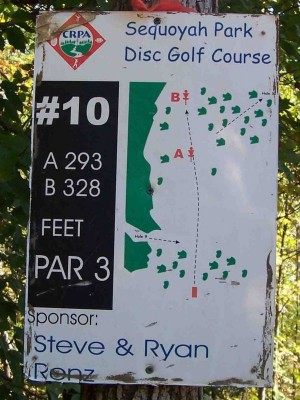 Sequoyah Park, Main course, Hole 10 Hole sign