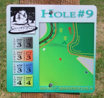 Central Park, Main course, Hole 9 Hole sign