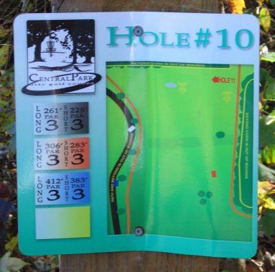 Central Park, Main course, Hole 10 Hole sign