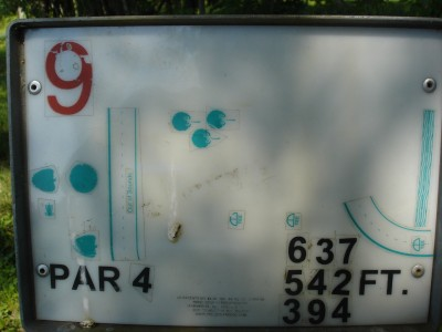 J.P. Moseley Park, Main course, Hole 9 Hole sign