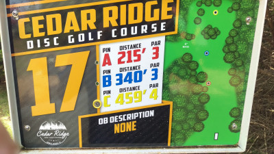 Cedar Ridge, Main course, Hole 17 Hole sign