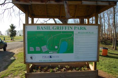 Basil Griffin Park, Main course, Hole 2 Hole sign