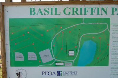 Basil Griffin Park, Main course, Hole 1 Hole sign