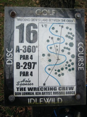 Idlewild, Main course, Hole 16 Hole sign