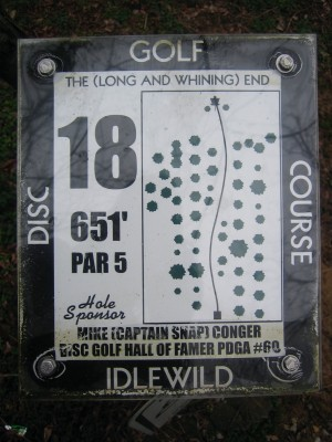 Idlewild, Main course, Hole 18 Hole sign