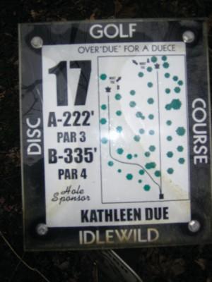 Idlewild, Main course, Hole 17 Hole sign