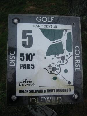 Idlewild, Main course, Hole 5 Hole sign