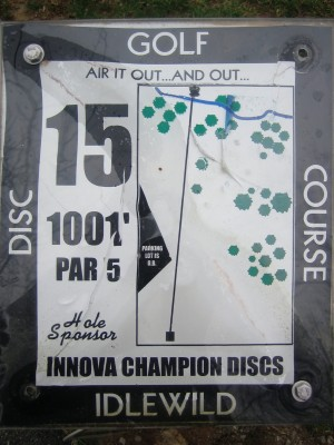 Idlewild, Main course, Hole 15 Hole sign