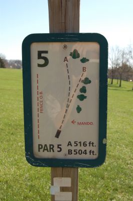 Freeman Lake Park, Main course, Hole 5 Hole sign