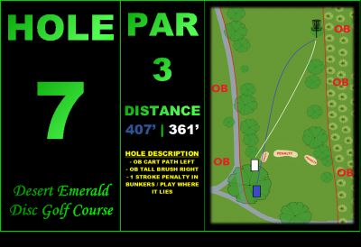 Desert Emerald Disc Golf Course, Main course, Hole 7 Hole sign