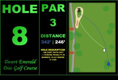 Desert Emerald Disc Golf Course, Main course, Hole 8 Hole sign