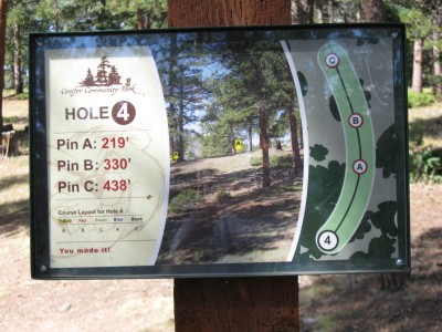 Beaver Ranch, Main course, Hole 4 Hole sign