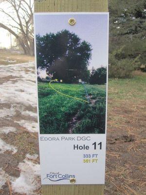 Edora Park, Main course, Hole 11 Hole sign