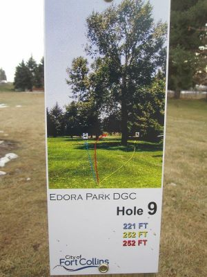 Edora Park, Main course, Hole 9 Hole sign