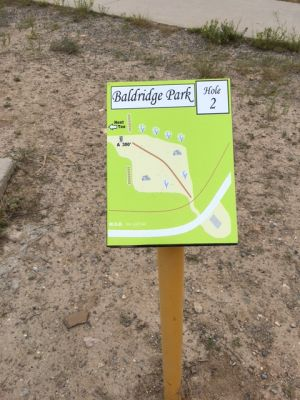 Baldridge Park, Main course, Hole 2 Hole sign
