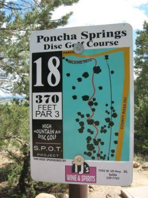 Poncha Springs, Main course, Hole 18 Hole sign