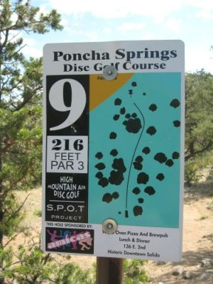 Poncha Springs, Main course, Hole 9 Hole sign